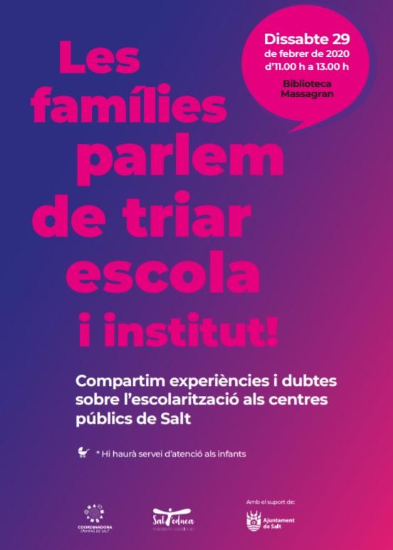 LES FAMÍLIES PARLEM DE TRIAR ESCOLA I INSTITUT