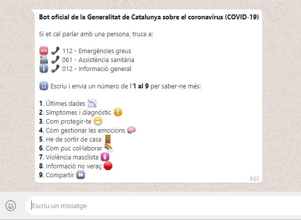 bot coronavirus generalitat
